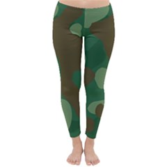 Initial Camouflage Como Green Brown Classic Winter Leggings by Mariart
