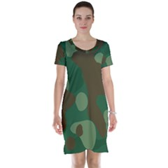 Initial Camouflage Como Green Brown Short Sleeve Nightdress by Mariart