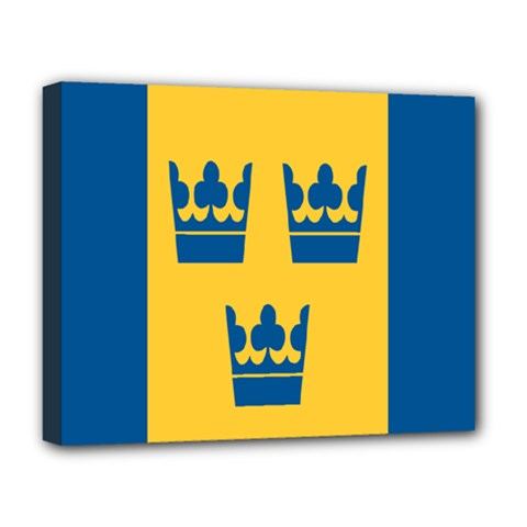 King Queen Crown Blue Yellow Deluxe Canvas 20  X 16   by Mariart