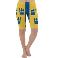 King Queen Crown Blue Yellow Cropped Leggings  by Mariart