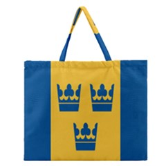 King Queen Crown Blue Yellow Zipper Large Tote Bag by Mariart