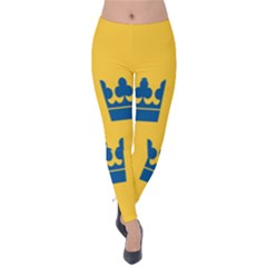 King Queen Crown Blue Yellow Velvet Leggings by Mariart