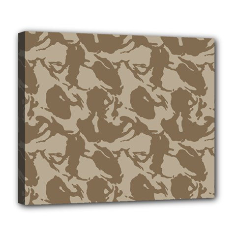 Initial Camouflage Brown Deluxe Canvas 24  X 20   by Mariart