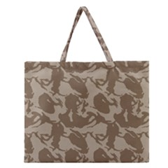 Initial Camouflage Brown Zipper Large Tote Bag by Mariart