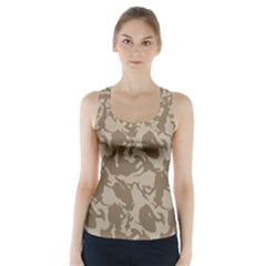 Initial Camouflage Brown Racer Back Sports Top by Mariart