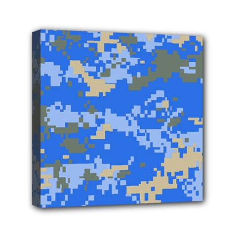 Oceanic Camouflage Blue Grey Map Mini Canvas 6  X 6  by Mariart