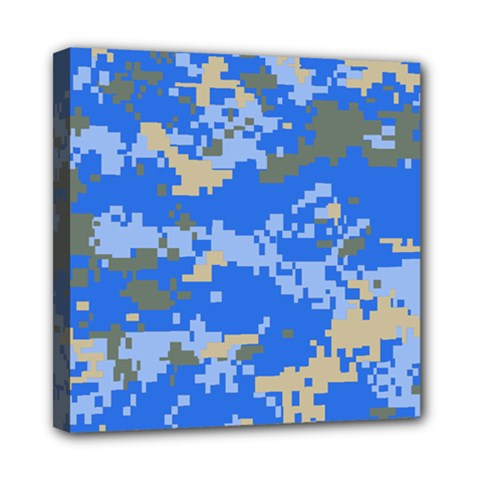 Oceanic Camouflage Blue Grey Map Mini Canvas 8  X 8  by Mariart