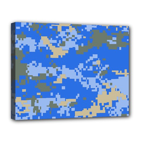 Oceanic Camouflage Blue Grey Map Canvas 14  X 11  by Mariart