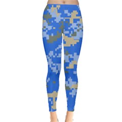 Oceanic Camouflage Blue Grey Map Leggings  by Mariart
