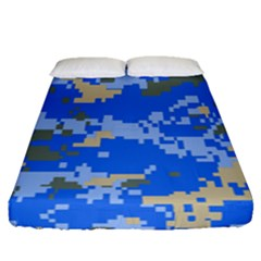 Oceanic Camouflage Blue Grey Map Fitted Sheet (queen Size) by Mariart