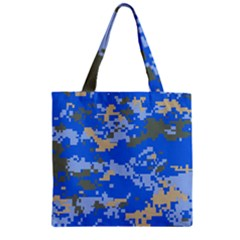 Oceanic Camouflage Blue Grey Map Zipper Grocery Tote Bag by Mariart