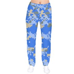 Oceanic Camouflage Blue Grey Map Drawstring Pants by Mariart