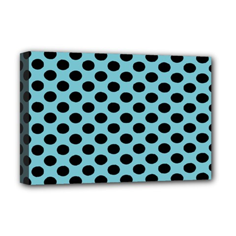 Polka Dot Blue Black Deluxe Canvas 18  X 12   by Mariart