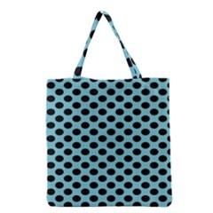 Polka Dot Blue Black Grocery Tote Bag by Mariart