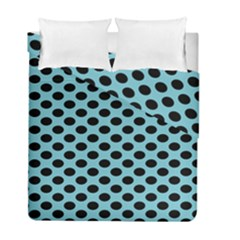 Polka Dot Blue Black Duvet Cover Double Side (Full/ Double Size) by Mariart