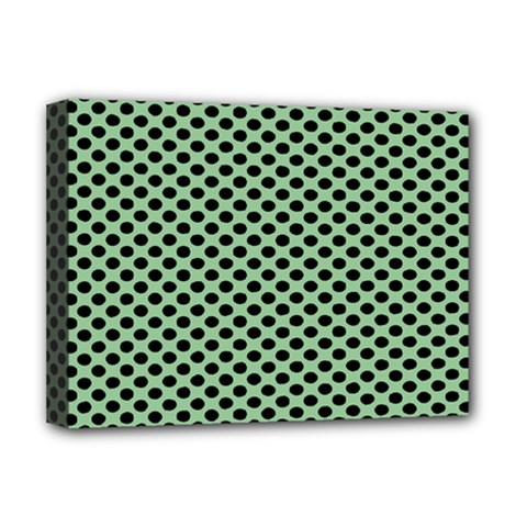 Polka Dot Green Black Deluxe Canvas 16  X 12   by Mariart