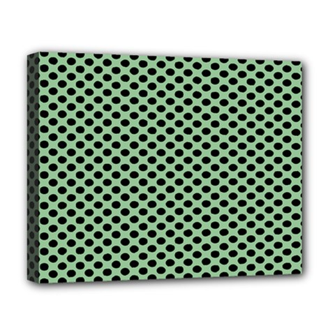 Polka Dot Green Black Deluxe Canvas 20  X 16   by Mariart