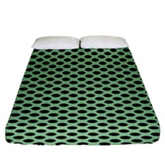 Polka Dot Green Black Fitted Sheet (king Size) by Mariart