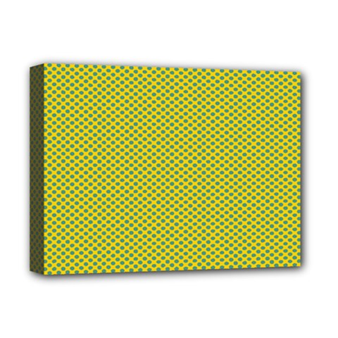 Polka Dot Green Yellow Deluxe Canvas 16  X 12   by Mariart