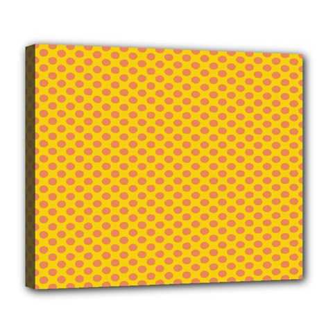 Polka Dot Orange Yellow Deluxe Canvas 24  X 20   by Mariart