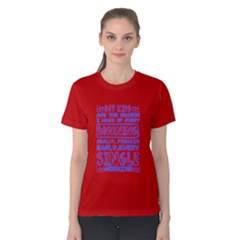Red & Blue Kids Wake Me Up Early Every Morning Women s Cotton Tee by raystore123