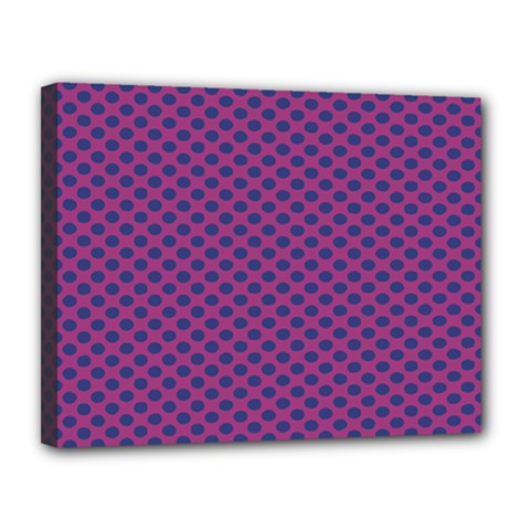 Polka Dot Purple Blue Canvas 14  X 11  by Mariart