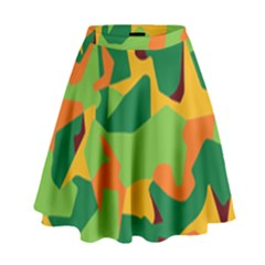 Initial Camouflage Green Orange Yellow High Waist Skirt by Mariart