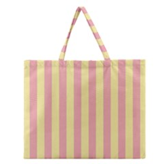 Pink Yellow Stripes Line Zipper Large Tote Bag by Mariart