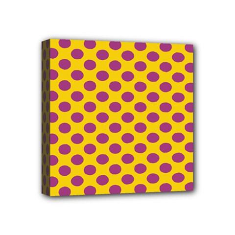 Polka Dot Purple Yellow Mini Canvas 4  X 4  by Mariart