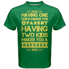Green & Yellow One Child Parent Two Kids Referee Men s Cotton Tee by raystore123