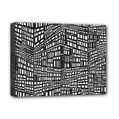 Plaid Black White Deluxe Canvas 16  X 12   by Mariart