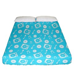 Record Blue Dj Music Note Club Fitted Sheet (queen Size) by Mariart
