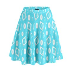 Record Blue Dj Music Note Club High Waist Skirt by Mariart