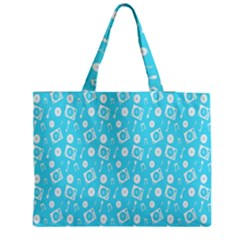 Record Blue Dj Music Note Club Medium Zipper Tote Bag by Mariart