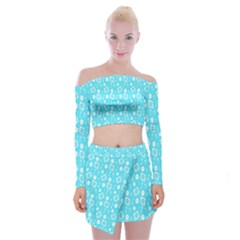 Record Blue Dj Music Note Club Off Shoulder Top With Skirt Set