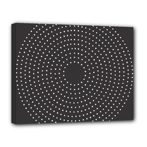 Round Stitch Scrapbook Circle Stitching Template Polka Dot Canvas 14  X 11  by Mariart