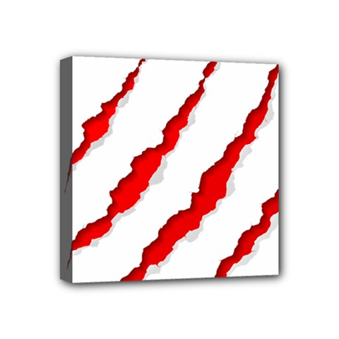 Scratches Claw Red White Mini Canvas 4  X 4  by Mariart