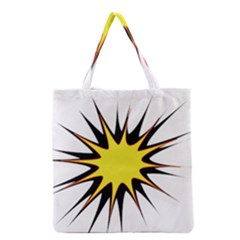 Spot Star Yellow Black White Grocery Tote Bag by Mariart