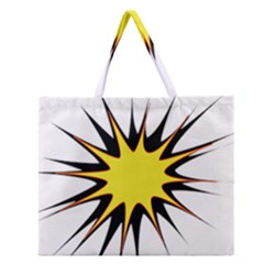 Spot Star Yellow Black White Zipper Large Tote Bag by Mariart