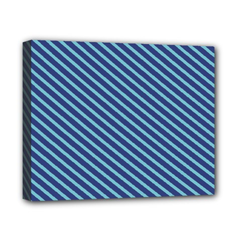 Striped  Line Blue Canvas 10  X 8  by Mariart