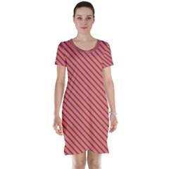 Striped Purple Orange Short Sleeve Nightdress by Mariart