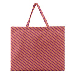 Striped Purple Orange Zipper Large Tote Bag by Mariart