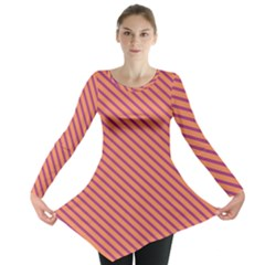 Striped Purple Orange Long Sleeve Tunic  by Mariart