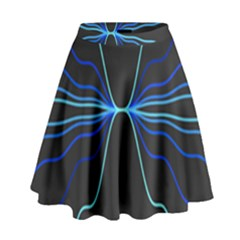 Sine Squared Line Blue Black Light High Waist Skirt by Mariart