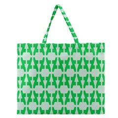 Sign Green A Zipper Large Tote Bag by Mariart