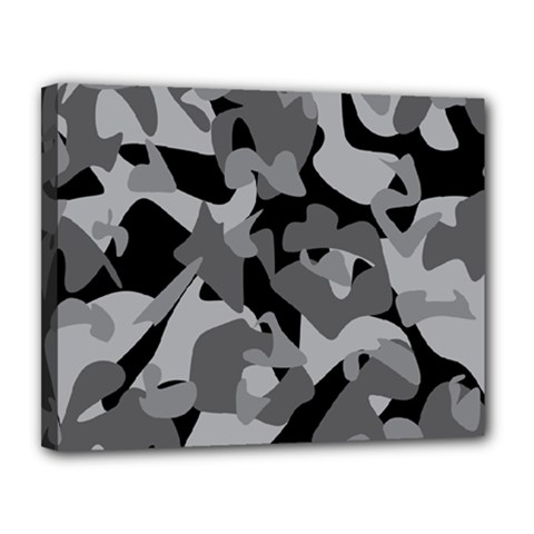 Urban Initial Camouflage Grey Black Canvas 14  X 11  by Mariart