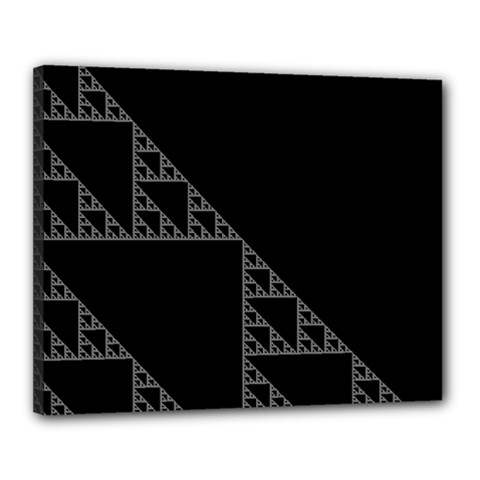Triangle Black White Chevron Canvas 20  X 16  by Mariart