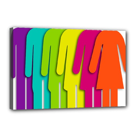 Trans Gender Purple Green Blue Yellow Red Orange Color Rainbow Sign Canvas 18  X 12  by Mariart