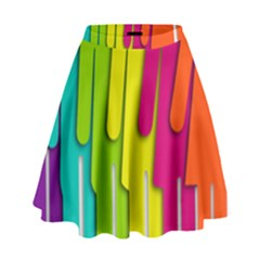 Trans Gender Purple Green Blue Yellow Red Orange Color Rainbow Sign High Waist Skirt by Mariart