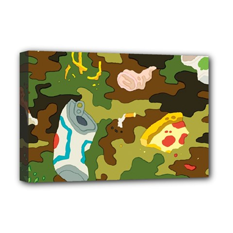 Urban Camo Green Brown Grey Pizza Strom Deluxe Canvas 18  X 12   by Mariart